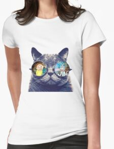 Rick and Morty Cat Womens Fitted T-Shirt