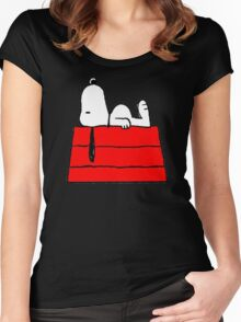 sleeping snoopy huft Women's Fitted Scoop T-Shirt