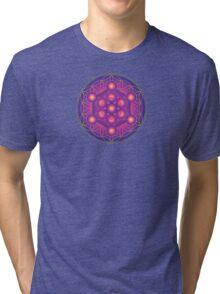 Metatron's Cube on Flower of Life Tri-blend T-Shirt