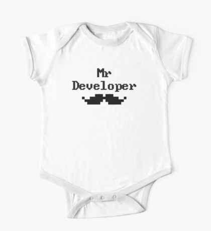 Mr Developer Cool Moustache - Pixel Version One Piece - Short Sleeve