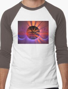 Peach Sunset Spheres Men's Baseball ¾ T-Shirt