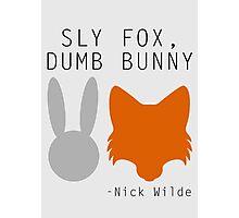 Sly Fox, Dumb Bunny - Nick Wilde Photographic Print