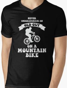 Never underestimate an old guy on a mountain bike Mens V-Neck T-Shirt
