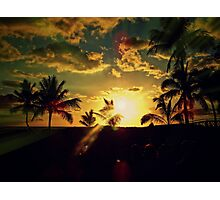 Beach, Hawaii, Wakiki beach, palm tree, sea, ocean, pacific,  polynesian Photographic Print