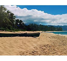 Beach scene with boat, canoe, beach, Hawaii, polynesia, ocean Photographic Print