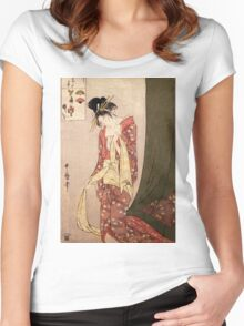 Reproduction Vintage Japanese painting  Women's Fitted Scoop T-Shirt
