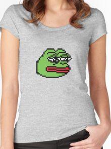 Pixelated Pepe Sad Frog Meme (Rare, Dank) Women's Fitted Scoop T-Shirt