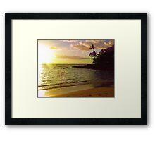 Beach scene, Hawaii, polynesia, sea, ocean, sunset Framed Print
