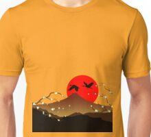 Fujiyama, crane and sakura Unisex T-Shirt