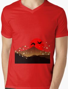 Fujiyama, crane and sakura Mens V-Neck T-Shirt