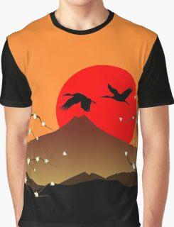 Fujiyama, crane and sakura Graphic T-Shirt