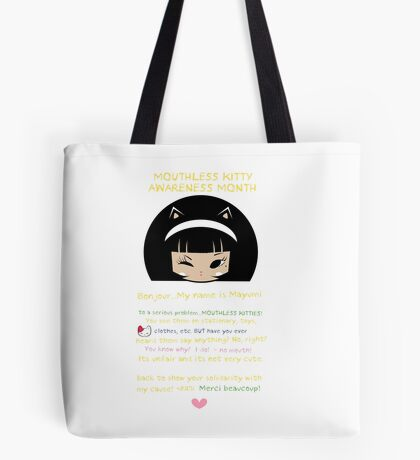 Mouthless Kitty Tote Bag