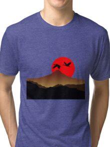 Fujiyama at sunset with two crane Tri-blend T-Shirt