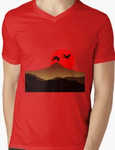 Fujiyama at sunset with two crane Mens V-Neck T-Shirt