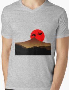Fujiyama at sunset with two crane Mens V-Neck T-Shirt