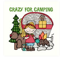Blond Girl Crazy For Camping Vacations Art Print