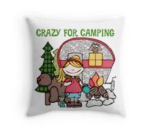 Blond Girl Crazy For Camping Vacations Throw Pillow