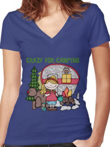 Blond Girl Crazy For Camping Vacations Women's Fitted V-Neck T-Shirt