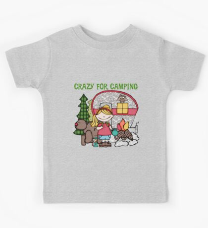 Blond Girl Crazy For Camping Vacations Kids Tee