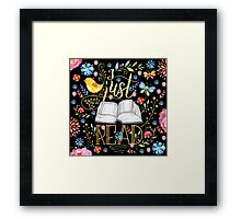 I Just Want To Read - Black Floral Framed Print