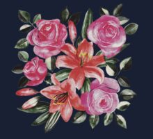 Roses and Lilies in watercolor Baby Tee