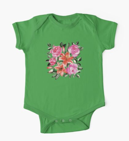 Roses and Lilies in watercolor One Piece - Short Sleeve