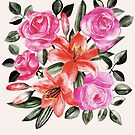 Roses and Lilies in watercolor by micklyn
