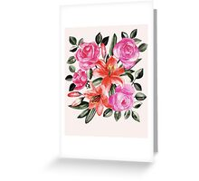 Roses and Lilies in watercolor Greeting Card