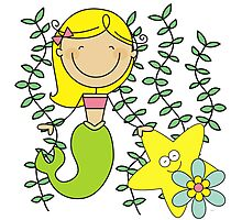 Blond Haired Ocean Mermaid With Starfish Photographic Print