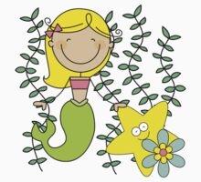 Blond Haired Ocean Mermaid With Starfish One Piece - Long Sleeve