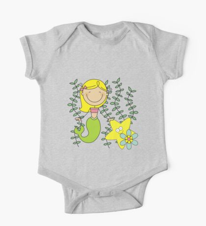 Blond Haired Ocean Mermaid With Starfish One Piece - Short Sleeve
