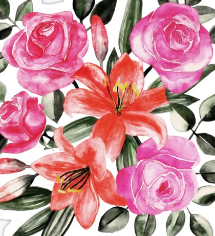 Roses and Lilies in watercolor Sticker