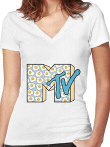 MTV Logo (Fried Eggs) Women's Fitted V-Neck T-Shirt