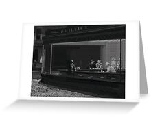 Typography Portrait of Nighthawks Painting By Hopper Greeting Card