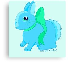 Bunny Wearing a Bow (Blue and Green Version) Canvas Print