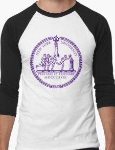 New York University logo Men's Baseball ¾ T-Shirt