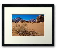 Jordan. Wadi Rum. Sand, Mountains and Vegetation. Framed Print