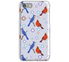 8-bit Blue Jay and Cardinal Pattern iPhone Case/Skin