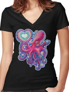 Octo Love Women's Fitted V-Neck T-Shirt