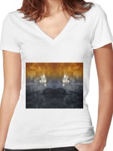 Her passage through time Women's Fitted V-Neck T-Shirt