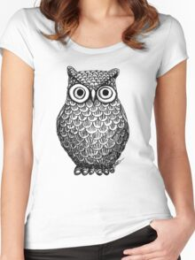 Owl Drawing Design Women's Fitted Scoop T-Shirt