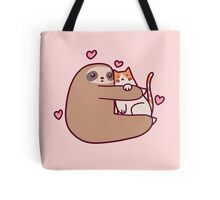 Sloth Loves Cat Tote Bag