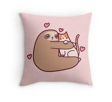 Sloth Loves Cat Throw Pillow