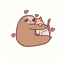 Sloth Loves Cat Art Print