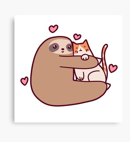 Sloth Loves Cat Canvas Print