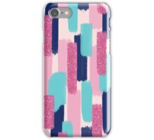 Navy and Pink Glitter | Brush Strokes iPhone Case/Skin