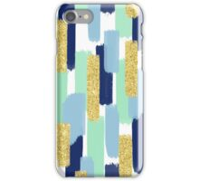 Navy and Gold Glitter | Brush Strokes iPhone Case/Skin