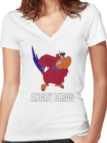 Angry Birds Women's Fitted V-Neck T-Shirt