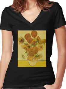 'Still Life with Sunflowers' by Vincent Van Gogh (Reproduction) Women's Fitted V-Neck T-Shirt