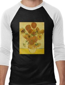 'Still Life with Sunflowers' by Vincent Van Gogh (Reproduction) Men's Baseball ¾ T-Shirt
